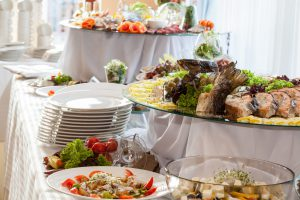 Wedding reception catered table setting